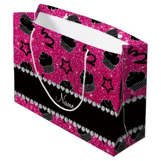 Custom name neon hot pink glitter stars cupcakes large gift bag