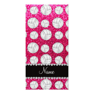 Custom name neon hot pink glitter volleyballs picture card