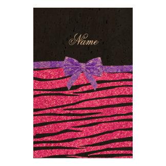 Custom name neon hot pink glitter zebra stripes queork photo prints