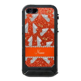 Custom name neon orange glitter angel wings incipio ATLAS ID™ iPhone 5 case