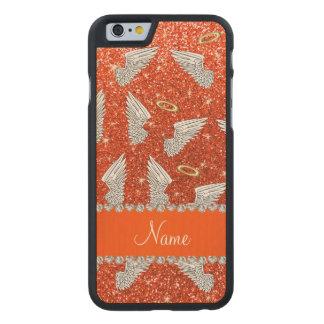 Custom name neon orange glitter angel wings carved® maple iPhone 6 case