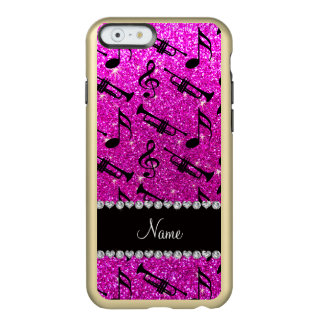 Custom name neon pink glitter trumpets music notes incipio feather® shine iPhone 6 case