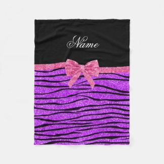 Custom name neon purple glitter zebra stripes bow fleece blanket
