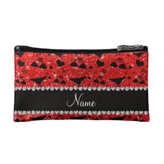 Custom name neon red glitter bikini bows cosmetic bag