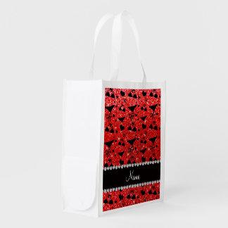 Custom name neon red glitter bikini bows reusable grocery bag