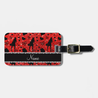 Custom name neon red glitter shopping pattern luggage tag