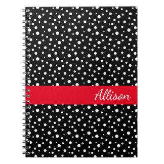 Custom Name Notebook-Black & White Polka Dots Notebook