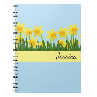 Custom Name Notebook-Daffodils Spiral Notebook