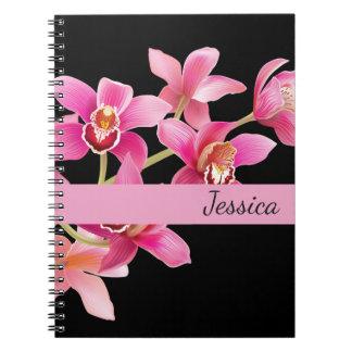 Custom Name Notebook-Pink Orchids Spiral Notebook