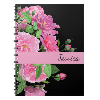 Custom Name Notebook-Pink Roses Notebook