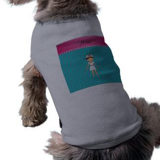 Custom name nurse turquoise stripes pink stripe dog shirt