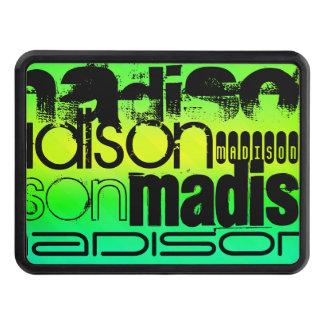Custom Name on Neon Aqua Green and Yellow Trailer Hitch Cover