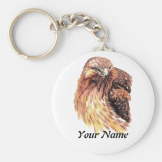 Custom Name or Business Red Tailed Hawk, Bird Basic Round Button Keychain