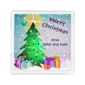 Custom Name or Couple's Name Merry Christmas Acrylic Tray