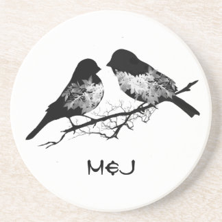 Custom Name or Monogram Love Birds Coaster