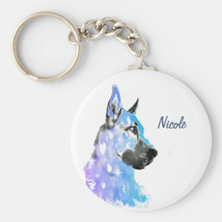 Custom Name or Text German Shepherd dog pet Keychain