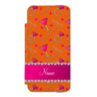Custom name orange bachelorette cocktails rings incipio watson™ iPhone 5 wallet case
