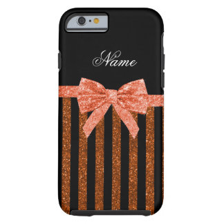 Custom name orange glitter stripes bows tough iPhone 6 case