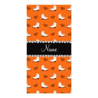 Custom name orange skates and hearts photo greeting card