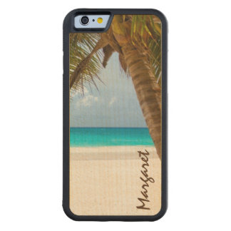 Custom Name Palm Tree Beach Tropical Carved Maple iPhone 6 Bumper Case