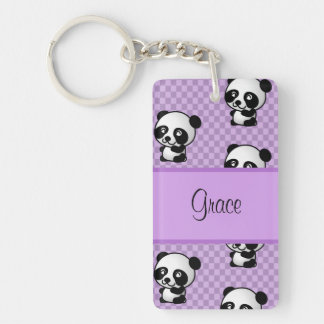 Custom Name Panda Bears on Purple Gingham Keychain