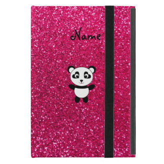 Custom name panda pink glitter iPad mini case