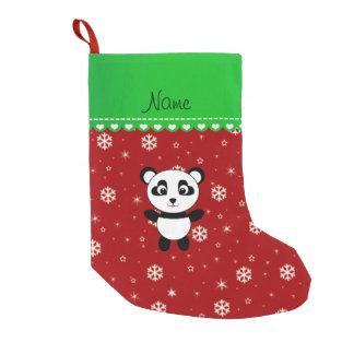 Custom name panda red snowflakes green stripe small christmas stocking