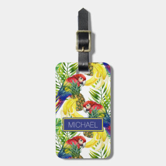 Custom Name Parrots And Tropical Fruit Luggage Tag