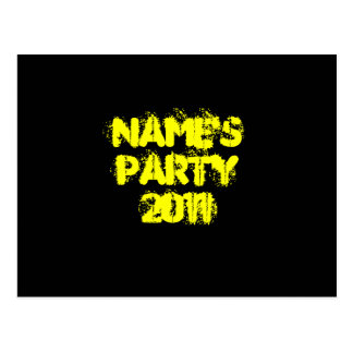 Custom Name. Party 2011. Yellow and Black Postcard
