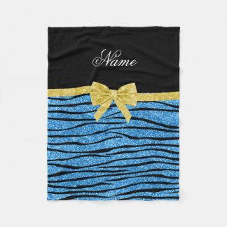 Custom name pastel blue glitter zebra stripes bow fleece blanket