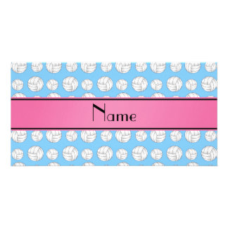 Custom name pastel blue volleyball pink stripe customized photo card