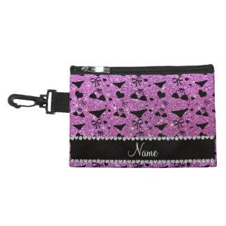 Custom name pastel purple glitter bikini bows accessories bags