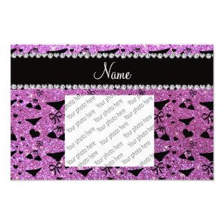 Custom name pastel purple glitter bikini bows photo print