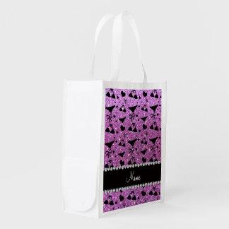Custom name pastel purple glitter bikini bows market totes