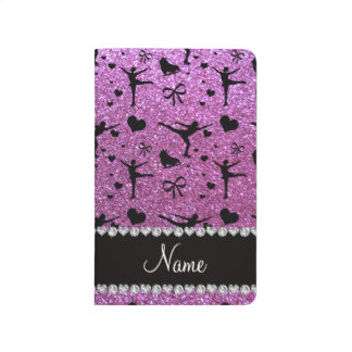 Custom name pastel purple glitter figure skating journal