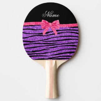 Custom name pastel purple glitter zebra stripes ping pong paddle