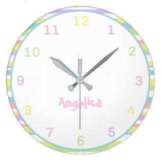 Custom Name Pastel Stripes Wall Clock For Nursery