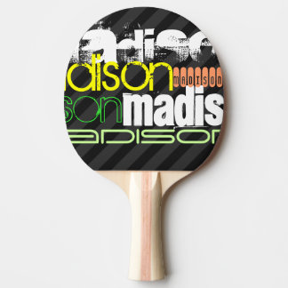 Custom Name Pattern on Black & Gray Stripes Ping Pong Paddle