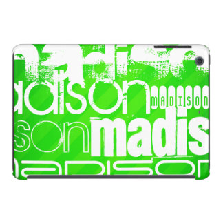 Custom Name Pattern on Neon Green Stripes iPad Mini Retina Case