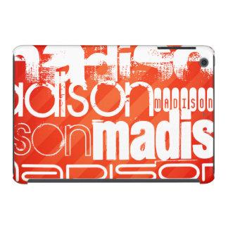 Custom Name Pattern on Neon Orange Stripes iPad Mini Covers
