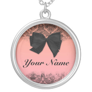 Custom name pendant. Chic, pink, black, bow. Round Pendant Necklace