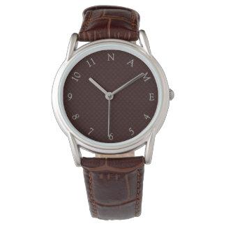Custom Name Personalized Mens Brown Wrist Watch