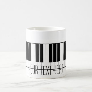 Custom Name Piano Keys Keyboard Teacher Student Classic White Coffee Mug