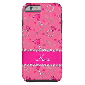 Custom name pink bachelorette cocktails rings tough iPhone 6 case