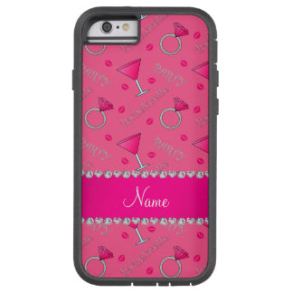 Custom name pink bachelorette cocktails rings tough xtreme iPhone 6 case