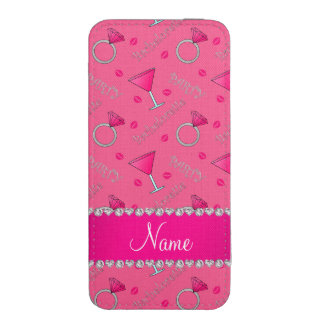 Custom name pink bachelorette cocktails rings iPhone pouch