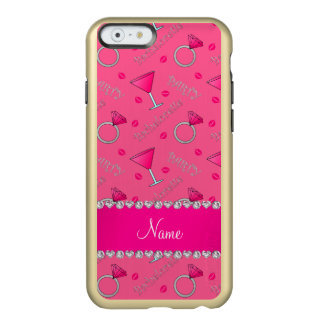 Custom name pink bachelorette cocktails rings incipio feather® shine iPhone 6 case