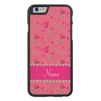 Custom name pink bachelorette cocktails rings carved® maple iPhone 6 case