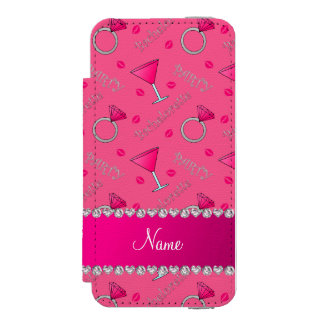 Custom name pink bachelorette cocktails rings incipio watson™ iPhone 5 wallet case