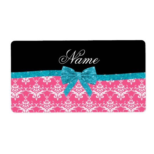 Custom name pink damask turquoise glitter bow shipping label